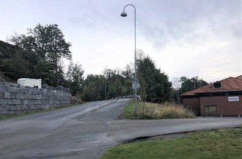 FIKK NEI: Det er i dette lille skogområdet, midt i bildet på høyre side av veien ned til Lillevik, Home Factory ønsket å etablere seg. Det sa både politikere og administrasjon nei til.