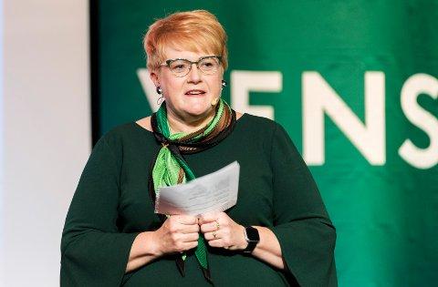 Venstre-leder Trine Skei Grande snakket om kvinnekampens seire i sin landsmøtetale, og nevnte både p-pillen og stemmerett for kvinner, men ikke abort.