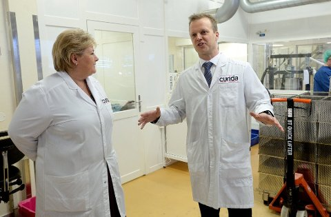 BEREDSKAP: Leif Rune Skymoen  med statsminister Erna Solberg på besøk.