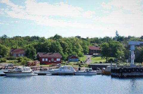 Østre Bolærne, med det røde 1990-bygget delvis skjult bak trærne, har blitt en økonomisk utfordring for eierne etter at Forsvaret kvittet seg med herligheten i 2004.