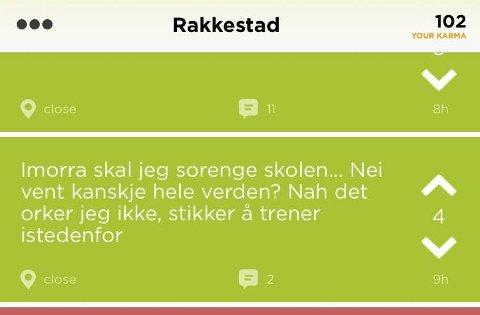 TRUSSEL: «I morra skal jeg sprenge skolen» begynner meldingen fra en Jodel-bruker i Rakkestad.