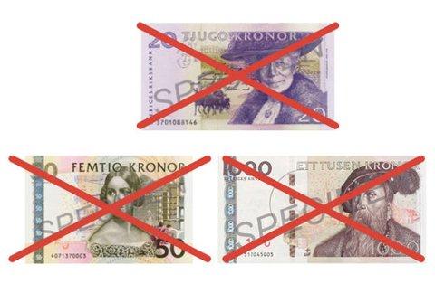 Disse svenske sedlene er ugyldige etter 30. juni i år. (Illustrasjon: Sveriges riksbank)