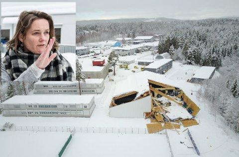 AVSTENGT: Den kollapsede tennishallen er omkranset av Ullerål skoler brakker. - Elevene kan ikke være her, sier rektor Anne Cathrine Fjellvang (innfelt).