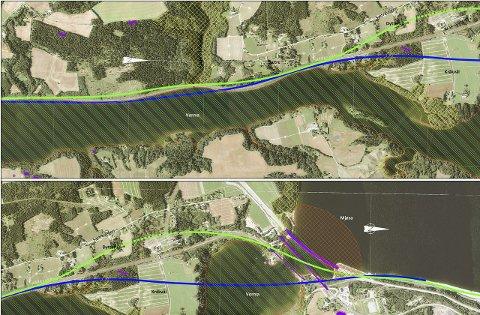 ALTERNATIVER: Kartutsnittene viser strekningen Dokknes – Langset. Blå strek er Jernbaneverkets anbefaling, mens grønn strek er Norsk Banes forslag.Illustrasjon: Jernbaneverket