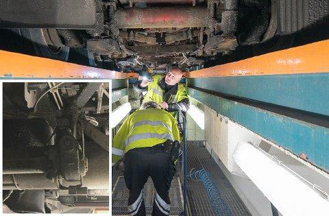 SJEKKER: Bjørn Uno Rogneby sjekker et vogntog ved en tidligere kontroll. Til venstre er hans eget bilde av bremsene på en tilhenger som de reagerte på for femte gang.