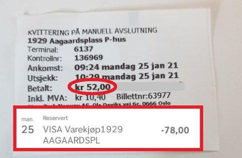FORVIRRET: Jeg fikk kvittering på 52 kroner for parkeringen. Men på kontoen er det reservert 78 kroner, sier Anette Louise Åsen. FOTO: Privat