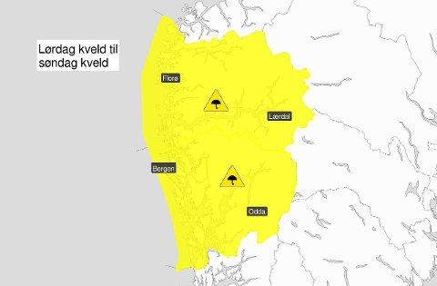 MYKJE NEDBØR: I helga er det venta mykje nedbør i Sogn og Fjordane og Hordaland. (Foto: Meteologisk Institutt)