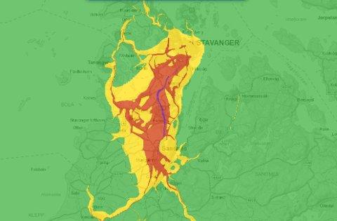 Dårlig luftkvalitet vil prege deler av Nord-Jæren fredag. Blå sone er verst, deretter rød og gul.