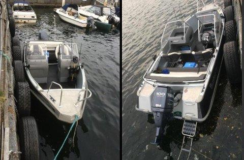 KJØRTE PÅ LAND: Politiet mistenker at båten er stjålet og ønsker tips fra vitner som kan ha sett den før den kjørte på land.