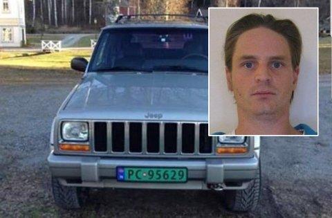 SAVNET: Kragerømannen Tommy-Andre Lofthaug har vært savnet siden 15. desember. Politiet ber om tips i saken. Lofthaug ble sist sett ved sin bopel i denne bilen. Den er av merket Jeep Cherokee og har registreringsnummer PC95629.