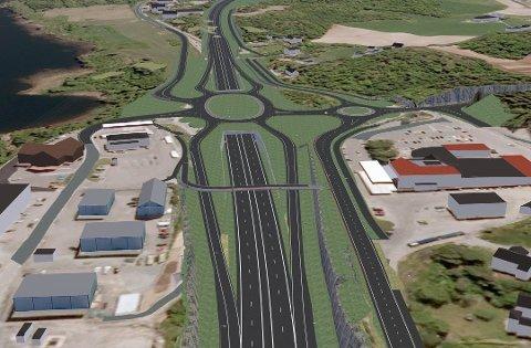 NY E18: Slik kan krysset ved Rugtvedt bli etter at den nye veien står klar. (Foto: Nye Veier AS)