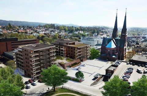 MINDRE: Kirken får beholde sin ruvende posisjon med den nye utformingen av leilighetsprosjektet som skal bygges på Lie.