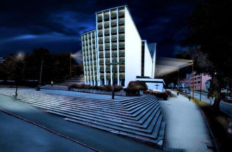 Illustrasjon av hvordan lyssettingen ved Kirkelandet kirke er tenkt.