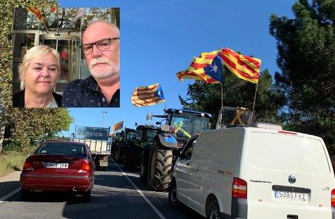 TOTAL STOPP: Anne Vestad og Per Gilding opplevde at hovedveien til flyplassen i Barcelona var blokkert av katalanske demonstranter og mistet dermed flyet til Norge på grunn av forsinkelsene.