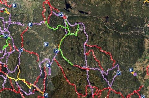 MANGEMULIGHETER:Løypekart for nordre del av Romeriksåseneder grønn og fiolett strek indikerer løyper som er oppkjørt.