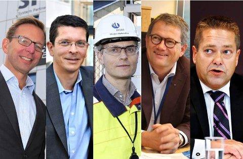 TOPPLEDERE: Fra venstre Arvid Gusland (Treschow-Fritzøe), Geir Håøy (Kongsberg Maritime), Geir Halleraker (Hydro Aluminium), Morten Fon (Jotun) og Heine Wang (Nokas).