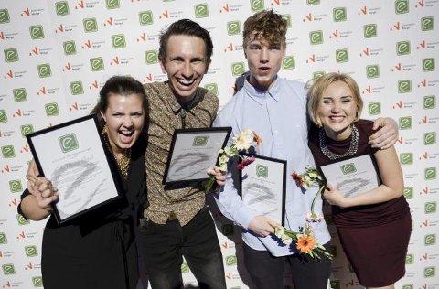 Vinnerteamet Emax 2015 (f.v.): Ida Maage Elstad fra Tyssedal, Daniel Feidal fra Tromsø, Simen Fossnes fra Sogndal og Tuva Smith fra Drøbak.