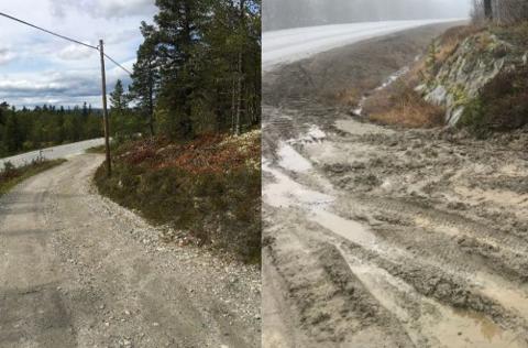 FØR OG ETTER: Bildene viser avkjørselsen til Svarttjønna før og etter NATO-øvelsen.