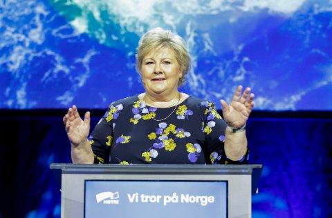 Statsminister og Høyre-leder Erna Solberg talte til Høyres landsmøte på Gardermoen fredag.