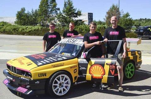 GODE KAMERATER: Fra v.: Erling Aasbø, Benjamin Aakre, Sten Leander Flaten og Olav Haugen Hasdal i Hasdal Racing.