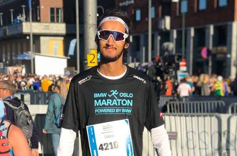 MARATONDEBUTANT: Gabriel Braaten løp sitt første maraton i Oslo Maraton lørdag.