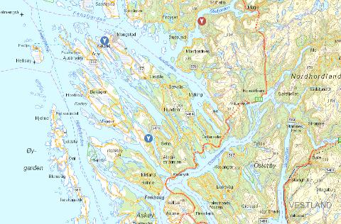 Dei blå markørane viser planlagt utkopling i Austrheim og Radøy. Den raude markøren visar straumbrot i Masfjorden.