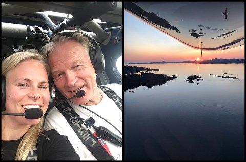 Jostein Eide saman med dottera Marte i eit av flya hans.