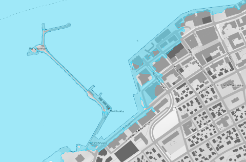 Slik kan det bli dersom en 200-årsflom treffer Bodø i 2090. Da vil deler av Sjøgata, Moloveien og Tollbugata oversvømmes.