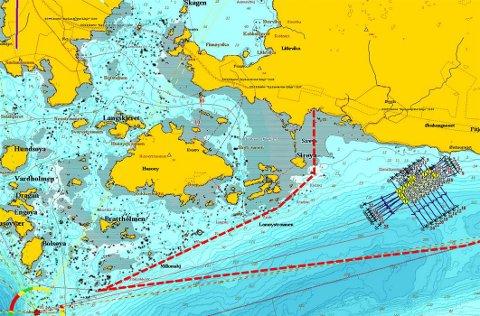 Plasseringen: Dette kartet viser hvor Cermaq Norway ønsker å plassere akvakulturanlegget. Plasseringen er omstridt.