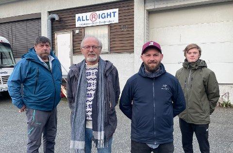 Nå er det klart at de flytter fra det gamle slakteriet. F.v.: Ivan Knutsen, Pål Erik Bjerke, Morten Jentoftsen Bjerke og Tinius Nilsen Evensen.
