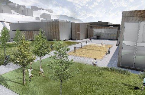 Dagens hall fra 1968 foreslås revet i en mulighetsstudie, som gir plass til en ny svømmehall, en turnhall og en flerbrukshall (skisse).