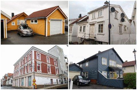 SOLGT: Disse fire eiendommene i Eigersund er blant de som ble solgt i september måned.