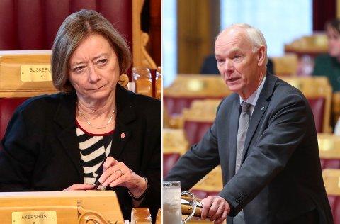 STERKT UENIGE: Lise Christoffersen (Ap) og Per Olaf Lundteigen (Sp).