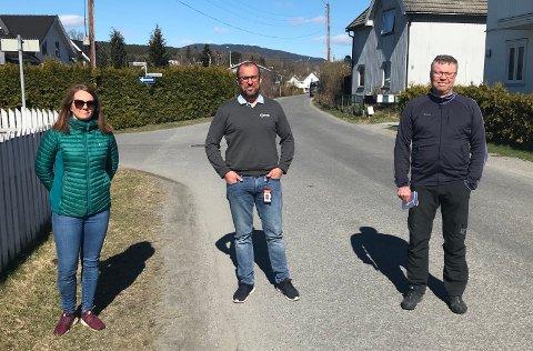 Vil ha dumper: F.v. Hanne Dynga, Erik Bergan og Bengt Morten Olufsen kjemper for fartsdumper i Dynge i Hokksund.