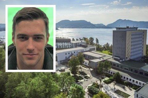 STENGT CAMPUS: – Eg var innom i starten på semesteret for å kjøpe bøker, men elles har eg berre sett førelesningar på nettet, seier NHH-student Jonas Grotle Frøyen (21) frå Florø.
