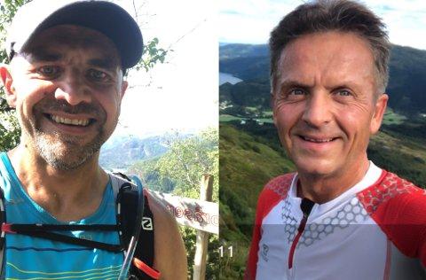 PRESTASJONAR: Arvid Haugen t.v sprang dag og natt i 25 timar for å ta året TiTur i Dalsfjorden, medan Ove Wolff tok turen på ti timar - med bil mellom. Begge deler solide prestasjonar.