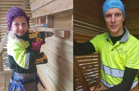 FLINKE: Kristina(4) og pappa Eigil Instebø laga tørkehytta som Kjersti Garfors drøymde om.