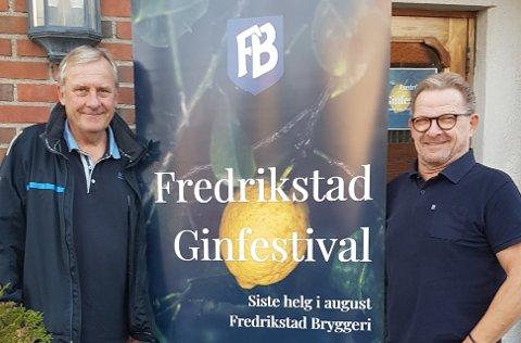NY FESTIVAL: Thor Andersen og Armand Fjeld ønsker velkommen til ginfestival på bryggeriet.