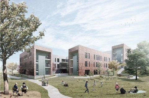 Blir høyere enn forgjengeren: Nye Onsøyheimen vil få et midtparti på fem etasjer og sidefløyer på tre etasjer – i tillegg til et trappetårn på 24,4 meter. (Illustrasjon: ASAS Arkitektur)