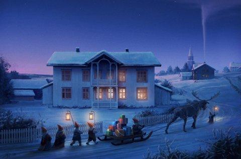 DET VAR EN GANG: Smånissene vandrer i flokk og følge med julegaver gjennom en snødekket idyll. Aarnes Historiske Selskab går for Gruegården og Årnes-nostalgi på årets nye julekort. – Dette er slik Gruegården så ut i 1910, forteller Kjell Aasum.