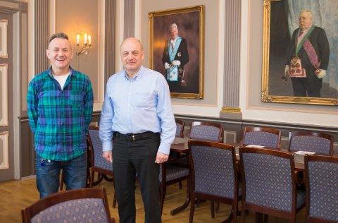 ÅPNER OPP: Anders Hynes Skeistrand, ordførende mester i St. Torfinn, og Per-Olaf Børke, ordførende mester i St. Halvard.