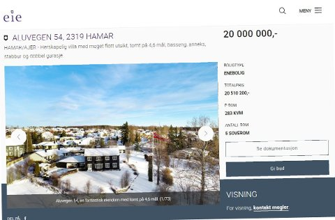 UTE: Her er huset til Reidar Nordby jr. lagt ut for salg på Eie. Skjermdump: Eie.no