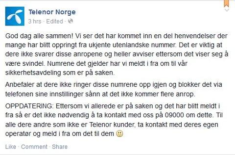 Oppfordring fra operatøren. Faksimile fra Telenor Norges Facebook-side,