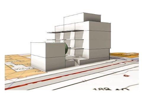 Hagland Eiendom planlegger et femetasjers bygg på hjørnetomten i krysset Sørhauggata/Tuhaggata.  Skisse: Vikanes Bungum Arktiekter.