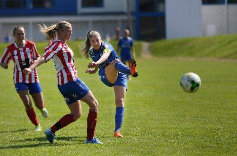 SCORET TRE: Ingvild Hansen Høvring scoret tre mål da Haugar slo Fana 5-1 sist søndag.