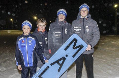 Stafett: Fire av løperne til MIL Ski. Fra venstre Johannes Øvereng, Trym Henriksbø Gjerstad, Kristoffer Grønvik og Morten Hjørnerød.