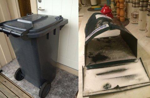Her er søppelkassen til Ingjerd Nilsen blitt satt foran døra hennes og postkassen ble sprengt.