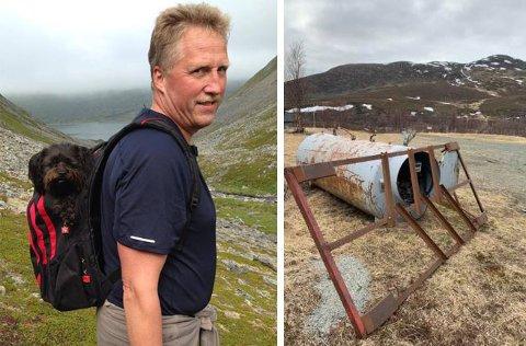 BØR FJERNES: Tor Ottem fra Kvalsund mener det er på tide å fjerne en stor, gammel tank som ligger og ruster midt i et populært turområdet i Kvalsunddalen.