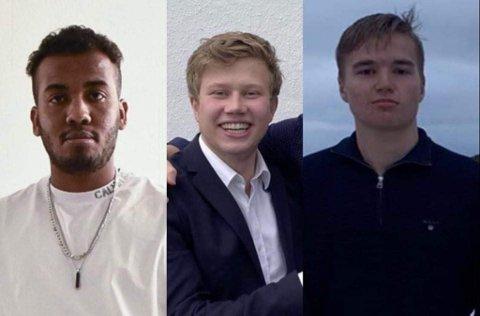 STARTER SAMMEN: Fra venstre: Elias Mahmoud, Henrik Pleym og Sander Nikolai Johansen.