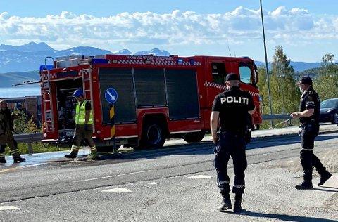 Trafikkulykke på hovedveien inn mot Harstad i Kanebogen.
